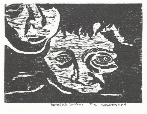 Yesterday's Children, a woodcut print by Maryclaire